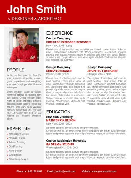 Resumes Samples professional resume red pag1