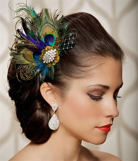 Royal Blue Hair Accessories For Weddings by Royal Blue Peacock Hair Clip Bridal Peacock Feather
