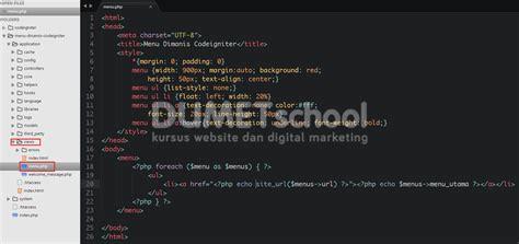 membuat web menggunakan codeigniter cara membuat menu dinamis menggunakan codeigniter dan