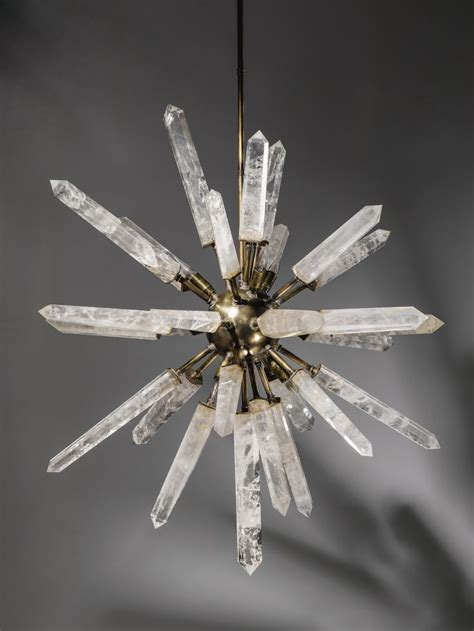 Rock Crystal And Bronze Starburst Chandelier At Tyson Crystals For Light Fixtures