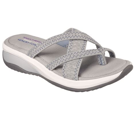 skechers comfort sandals 38913 gray skechers shoes women strappy thong sandal