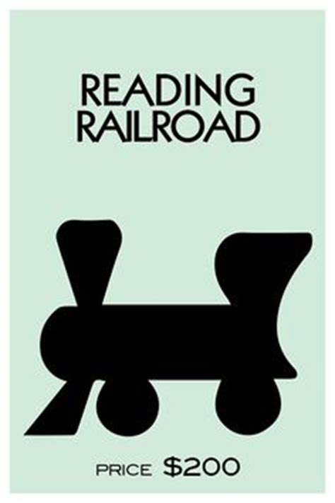monopoly railroad card template monopoly reading railroad standee on ideas