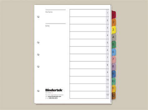 Multicolor Numeric Index Tabs 1 12 Set Bindertek Binder Index Template