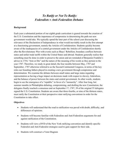 Federalist And Anti Federalist Worksheet Answers Free
