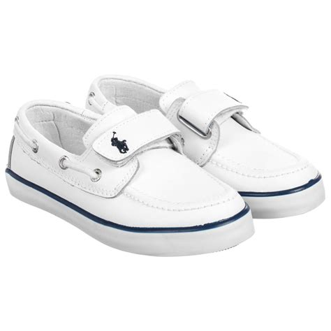 white polo boat shoes polo ralph lauren boys white leather boat shoes