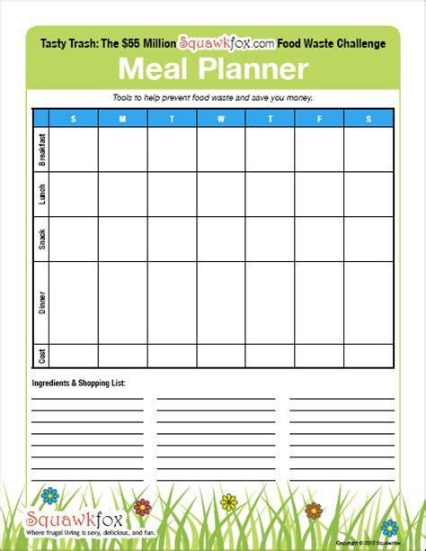 blank meal plan printable weekly meal planner template free new calendar template site