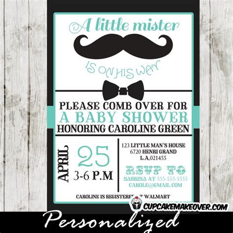 Mustache And Bow Tie Baby Shower Decorations by Black Blue Bow Tie And Mustache Baby Shower Invitation