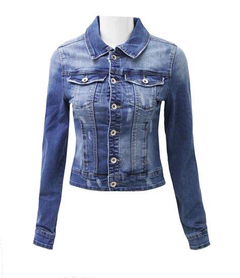 Premium Denim Jacket Ripped womens denim jacket distressed ripped blue coat