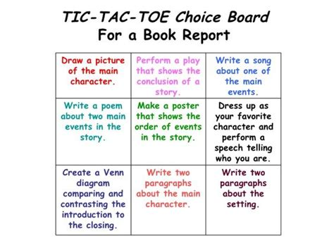 Tic Tac Toe Choice Board Template the world s catalog of ideas