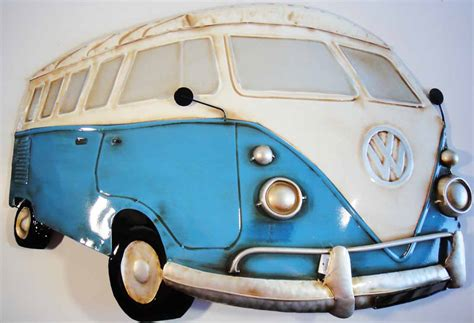 volkswagen van art metal wall art blue cream vw cer van vdub