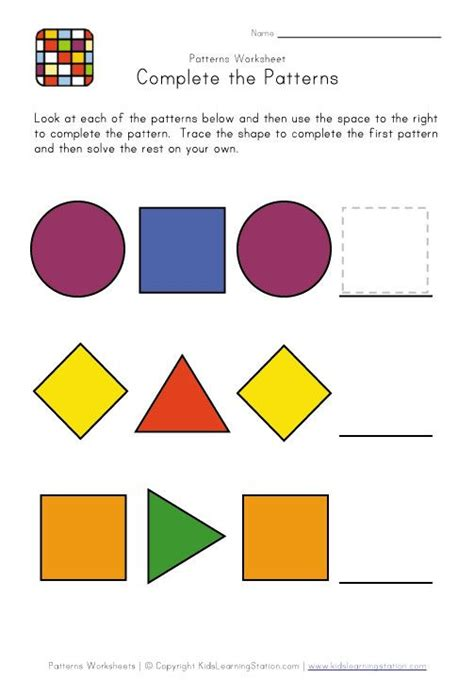 pattern shapes math learning center 11 best pattern worksheets images on pinterest math