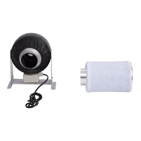 4 fan and carbon filter combo homcom 4 inch carbon air filter and inline fan combo kit