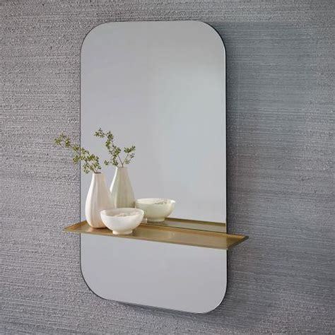 gold floating shelf wall mirror