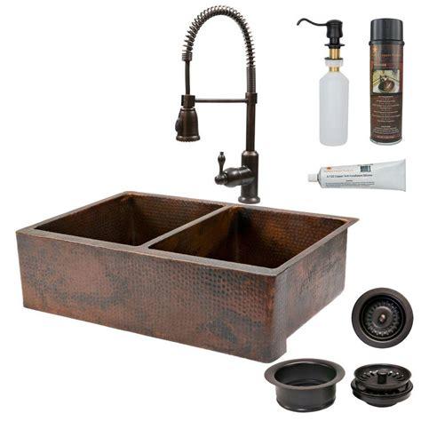 Bronze Kitchen Sink Premier Copper Products All In One Undermount Copper 33 In 0 50 50 Basin Kitchen