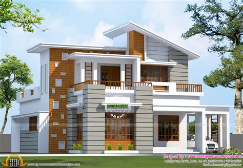 slanting roof mix house 1600 sq ft kerala home design