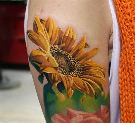 sunflower rose tattoo black and grey sunflower with on half sleeve