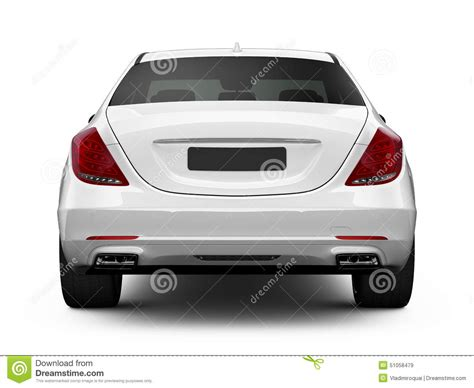 car rear view rear view of white luxury car stock illustration