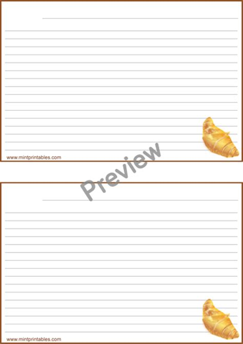 2x2 lined card template free printable bread and pastry recipe cards 4x6 and 2x5