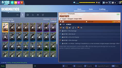 Frostbite Schematic Rolls and Stats (Event Sniper) : FORTnITE
