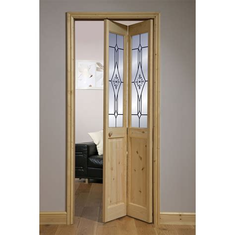 Interior Folding Doors by Canterbury Knotty Pine Etched 2 Lite Bifold Interior Door