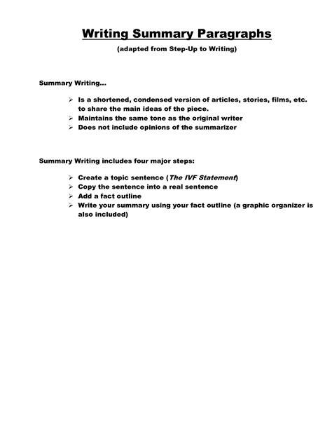 how to write a summary template elementary teachersites