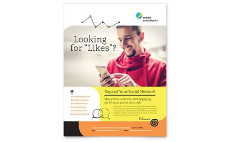 Social Media Consultant Flyer Template Word Publisher Social Flyer Word Template