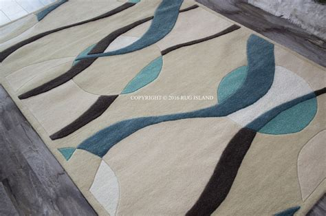 5x8 Modern Contemporary Abstract Waves Wool Blue Teal Area Blue Contemporary Area Rug