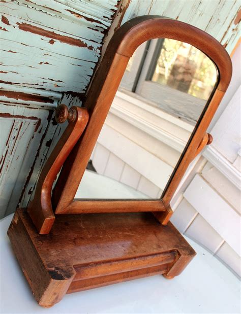 Antique Wood Dresser With Mirror antique dresser mirror wood swivels drawer for jewelry