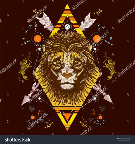 cnblue tattoo chords lion color tattoo tribal style tshirt stock vector