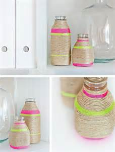 Diy Home Crafts Decorations Diy Neon String Wrapped Vases In Crafts For Decorating And