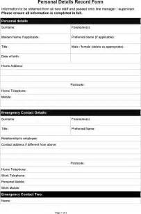 free sample personal details record form doc pdf page job application forms