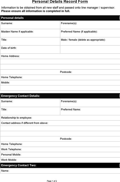 personal information form template word sle personal details record form for free