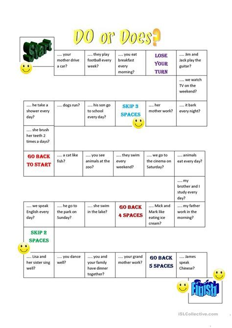 printable board games for young learners do does question board game worksheet free esl printable