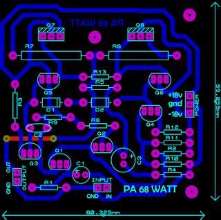 layout pcb ocl 150 watt ocl 68 watt power amplifier electronic circuit