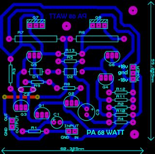 layout design electronics ocl 68 watt power amplifier electronic circuit