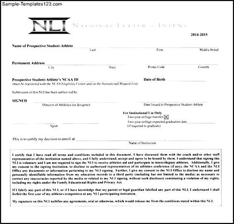 College Letter Of Intent Football College Football National Letter Of Intent For Students Sle Sle Templates