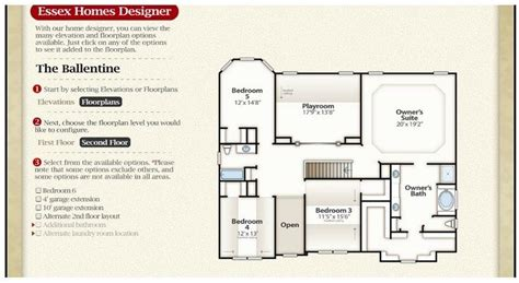 essex homes floor plans essex homes floor plans new the ballentine second floor
