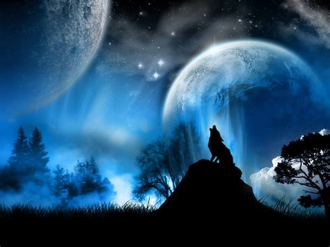 moon and wolf 1600 x 1200 fantasy photography
