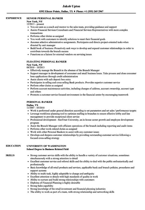 personal banker resume sample from resume examples for bank teller