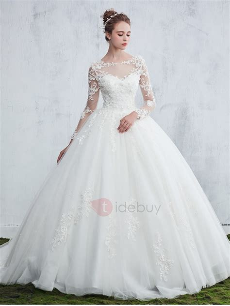 appliques for wedding dresses appliques long sleeve ball gown wedding dress tidebuy