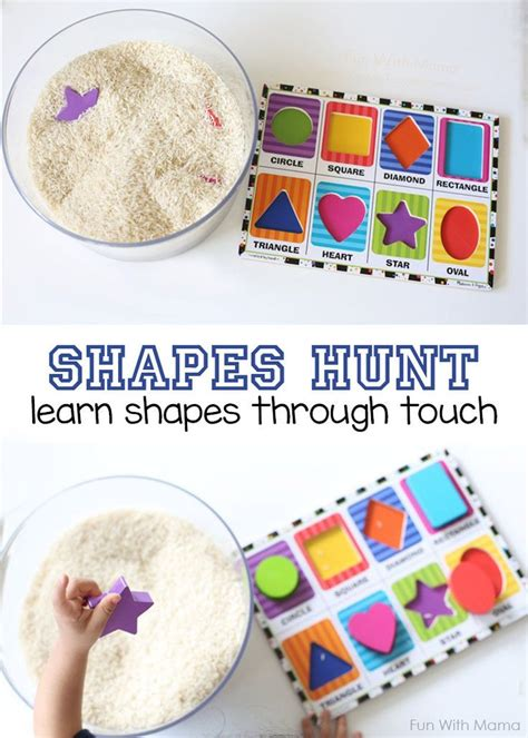 15 simple ways to teach patterns to preschoolers the shapes hunt add puzzle pieces to rice preschool shape