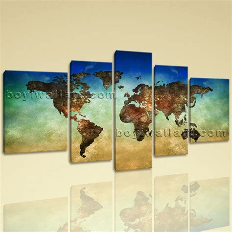 large world map other retro canvas wall home decor five panels print