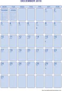 December Calendar Templates by December Calendar 2018 Template Portrait Printable