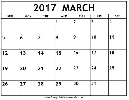 Printable Calendar For March 2017