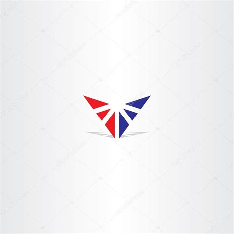 red blue letter v triangle logo stock vector