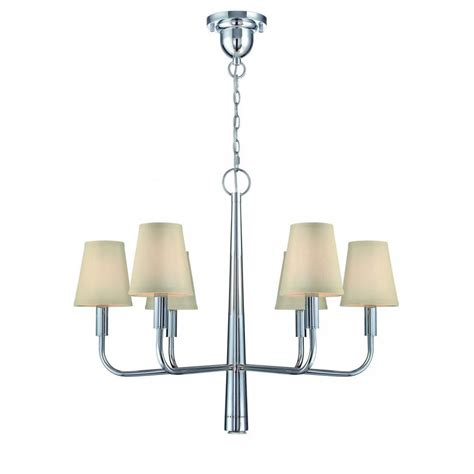 85 Ls Chandelier Filament Design 6 Light Polished Chrome Chandelier With White Fabric Shades Cli Ls457213 The