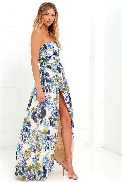Dress Wanita Murah Sweet Maxi Dress lovely floral print dress blue floral print dress maxi dress strapless dress 109 00