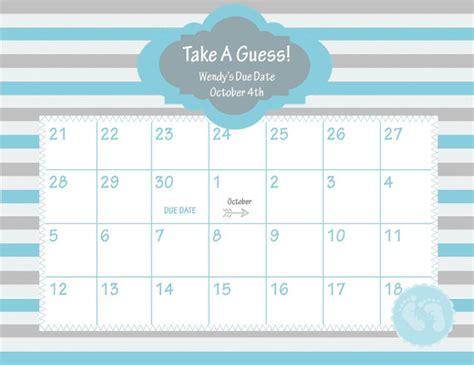 printable calendar games printable due date calendar baby shower game guess