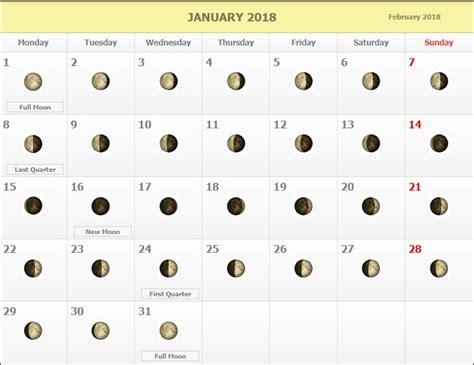 Calendar With Moon Phases January 2018 Moon Phases Calendar Calendar 2018