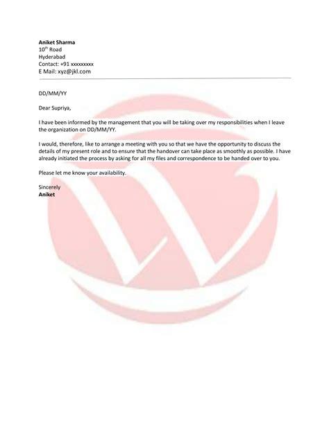 Letter For Work Handover responsibilities handover sle letter format